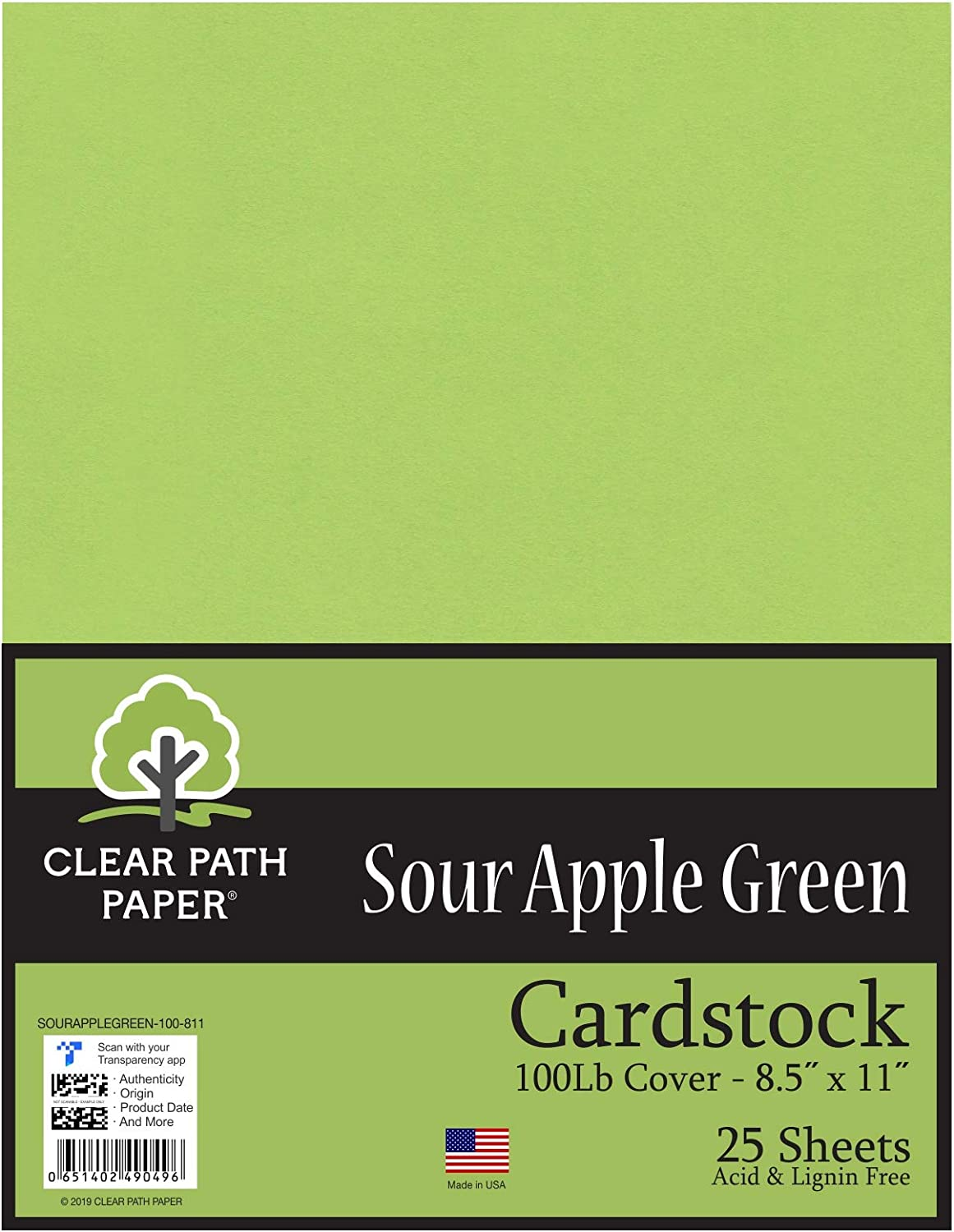 Sour Apple Green Cardstock - 8.5 x 11 inch - 100Lb Cover - 25 Sheets - Clear Path Paper