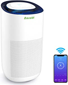Amrobt Smart Wi-Fi Air Purifier for Home Large Room with True HEPA Filter.4-layer Filtration, Odor Eliminator for Allergies and Pets, Ionic & Sterilizer, Air Cleaner for Office & Home, Rid of Mold, Smoke, Odor. Works with Alexa