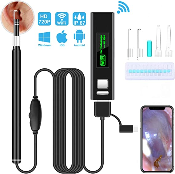 3.0 Upgraded 1080P FHD Waterproof Wireless Ear Scope,Ear Otoscope Camera with 250 mAh Capacity,Temperature Control,Compatible with Android iOS Smartphone and Tablet(Black) Ear Camera