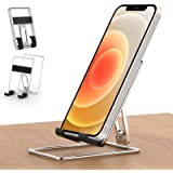 Cell Phone Stand for Desk - Senose Portable Foldable Metal Desk Phone Holder, Adjustable Cradle Dock Base Compatible with iPh