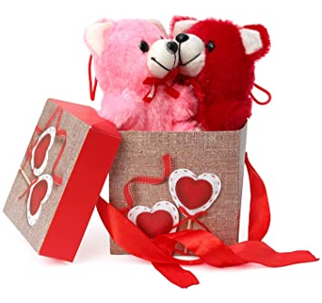 TIED RIBBONS Anniversary Birthday Friendship Day Gifts for Boyfriend Girlfriend Wife Husband Friend (Gift Box with Ribbon, 2 Small Teddy)