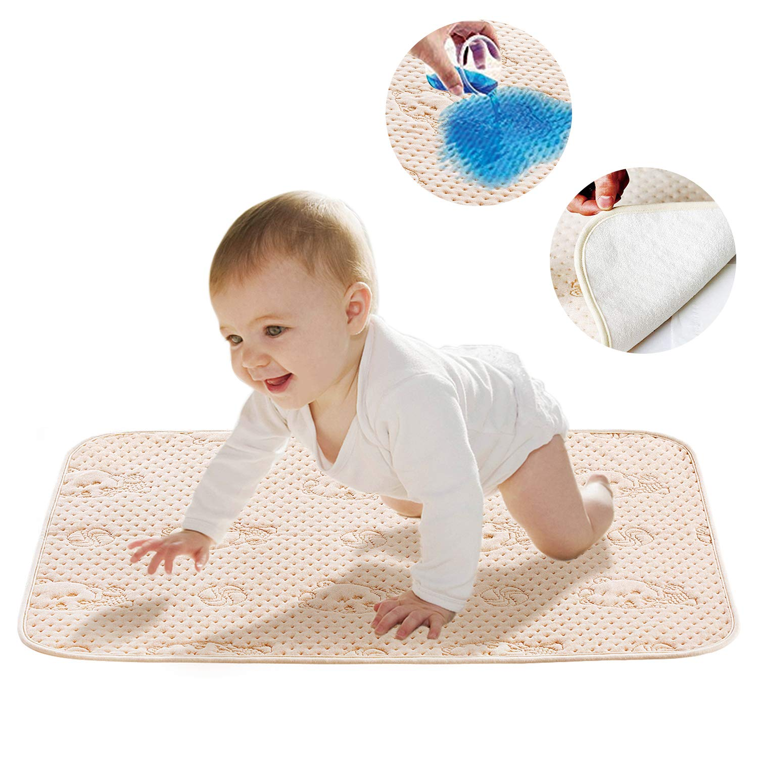 Portable Diaper Changing Pad,Incontinence Pads,Mifiatin Baby Waterproof Bed Pad Bed Wetting Pads Absorbent Pads Washable Bed Pads for Infants, Children and Pets