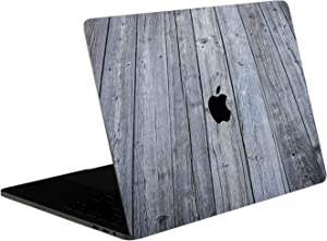 SOJITEK Aged Gray Wood Texture 4-in-1, Full-Size 360° Protector Skin Decals Sticker MacBook Pro 15 Inch (2016 to 2019 Model with & w/o Touch Bar & ID) A1707 A1900 Black Keyboard Cover