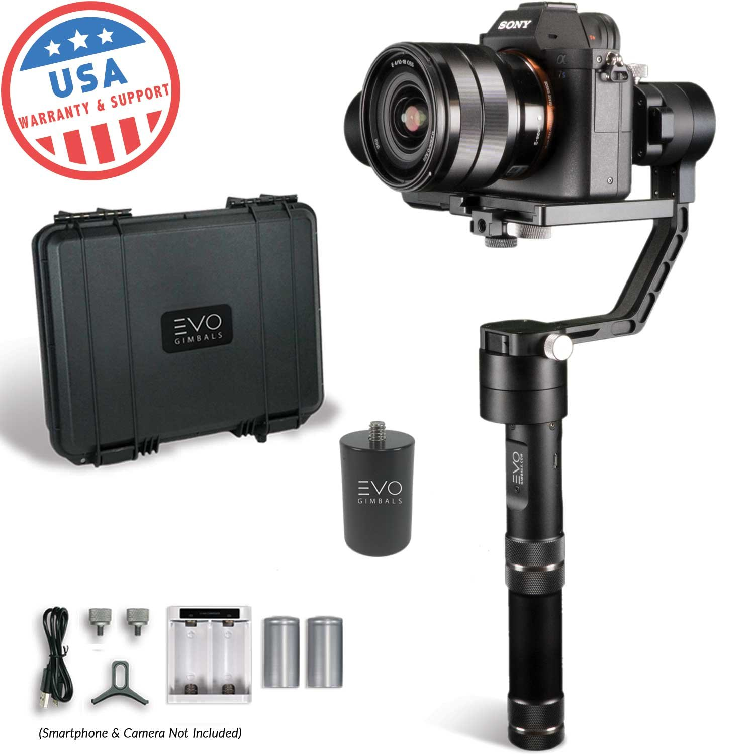 EVO Rage Gen2 Handheld 3 Axis Gimbal for DSLR & Mirrorless Cameras - Works with Sony A7SII, Panasonic GH4 GH5 - 1 Year USA Warranty   Bundle Includes: EVO Rage Gen2 + (1) PA-100 Painter's Pole Adapter