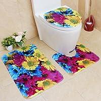 artistic9(TM) 3/Set rutschfest Flower Print WC-Mats Set, Ständer Teppich + Deckel WC-Deckelbezug + Badteppich für Badezimmer