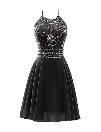 d1e513cbc14 Sarahbridal A Line Halter Beaded Bodice Prom Dress Short Chiffon Open Back Homecoming  Dresses Black US2