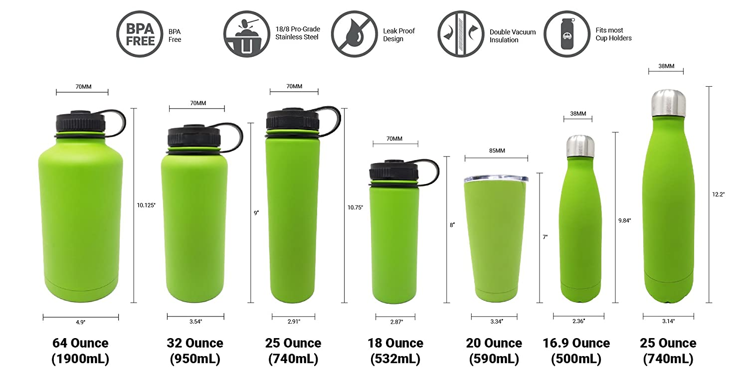 Great Alkaline Water Bottle 7 Colors and 7 Different Sizes to Choose Double Wall 18//8 Pro-Grade Stainless Steel Water Bottle with Leak-Proof Stainless Cap