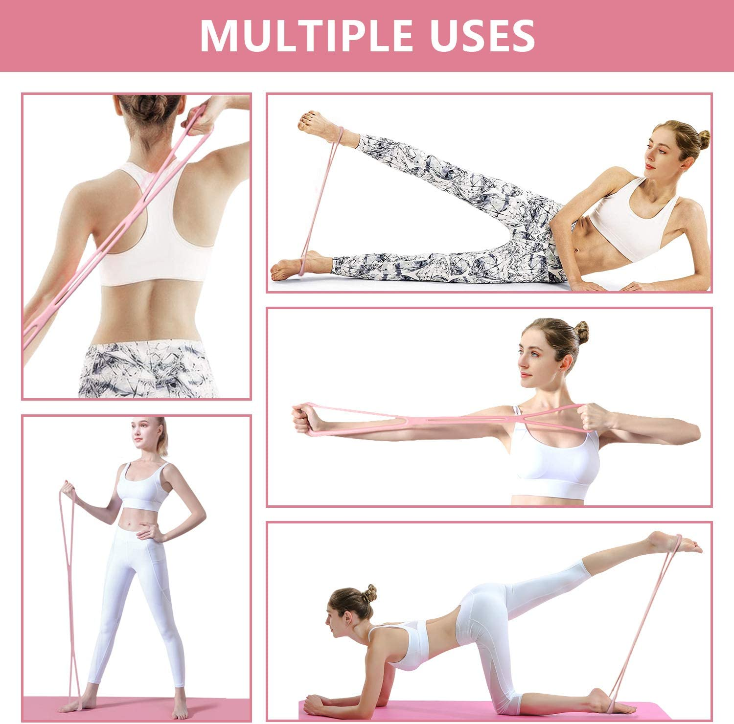 Portable Yoga Pilates Stick 8 Shape Chest Rally Pull Rope Muscle Toning Bar Home Gym Pilates Body Shaping Pilates Stick KMM Pilates Bar Kit with Resistance Band