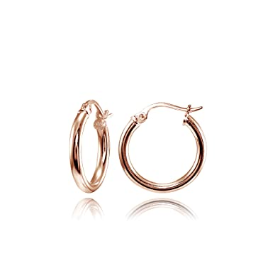 185f2ffe5 Hoops & Loops Flash Plated Rose Gold Sterling Silver 2mm High Polished  Round Hoop Earrings,