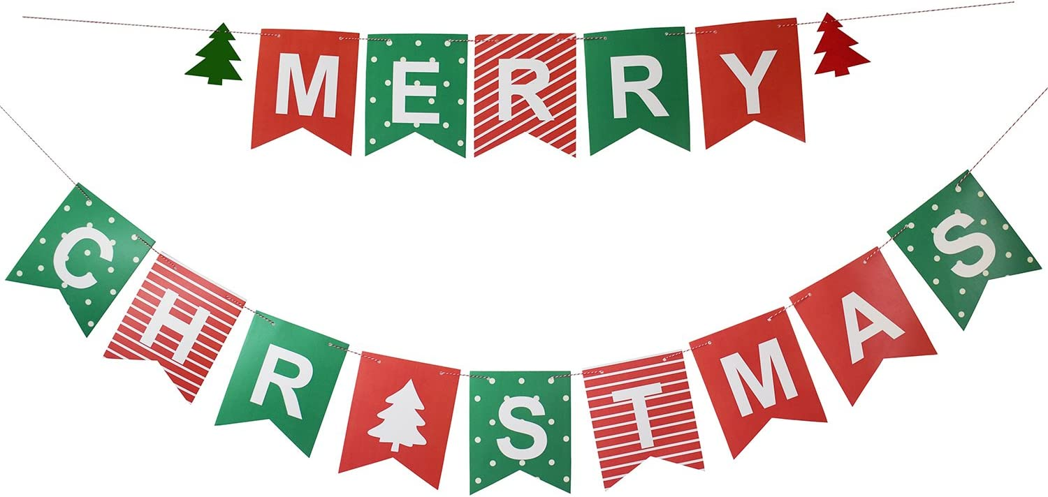 Wood or Glitter Card Garland Banner MERRY CHRISTMAS BUNTING Xmas Decoration