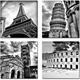 4 Panels European Architecture Modern Giclee Canvas Prints Skyline City Bulidings Pictures Sensations to Photo Paintings on Wall Art for Home Decor