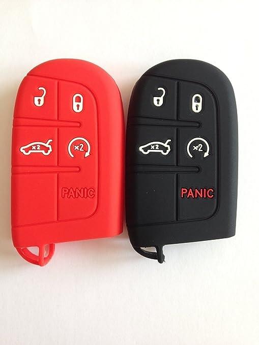 Black Key Case Cover Jacket Silicone Rubber Fob Keyless Remote Holder Skin fit for JEEP FIAT DODGE CHRYSLER Smart Remote Key Case