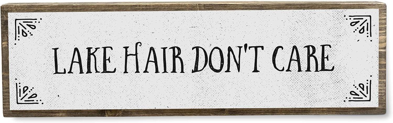ANVEVO Lake Hair Don't Care - Handmade Metal Wood Lake House Welcome Sign – Lake Home Decor Art - Farmhouse Decorations – Lake House Decorations for Home