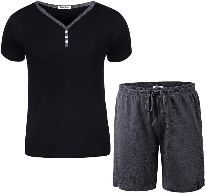 Aibrou Mens Pajama Shorts Sets Cotton Pyjamas Set Loungewear Sleepwear for Summer