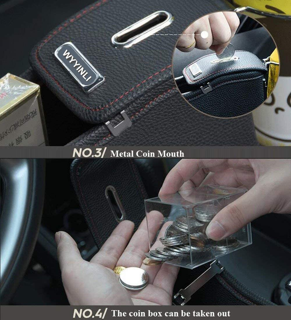 NEW POWER Premium PU Leather Side Pocket Organizer Car Seat Filler Gap Space Storage Box Bottle Cup Holder Coin Collector Car Interior Accessories 2PCS Brown