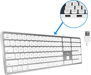 Macally Mac Keyboard Full-Size & Number Keypad (Metal Frame) 2 USB Ports Hub & Wired USB Cable - Apple Computer Keyboards for Mac, Pro, MacBook, Pro, Air Laptops (Silver Aluminum) MLUXKEYA