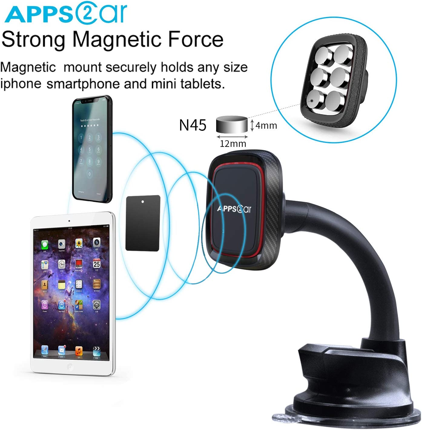 Car Magnetic Phone Holder Strong Suction Cup APPS2Car XL Universal Dashboard /& Windshield Magnetic Car Phone Mount with 6 Strong Magnets Com//W Larger and Heavy Devices. Magnetic Phone Car Mount
