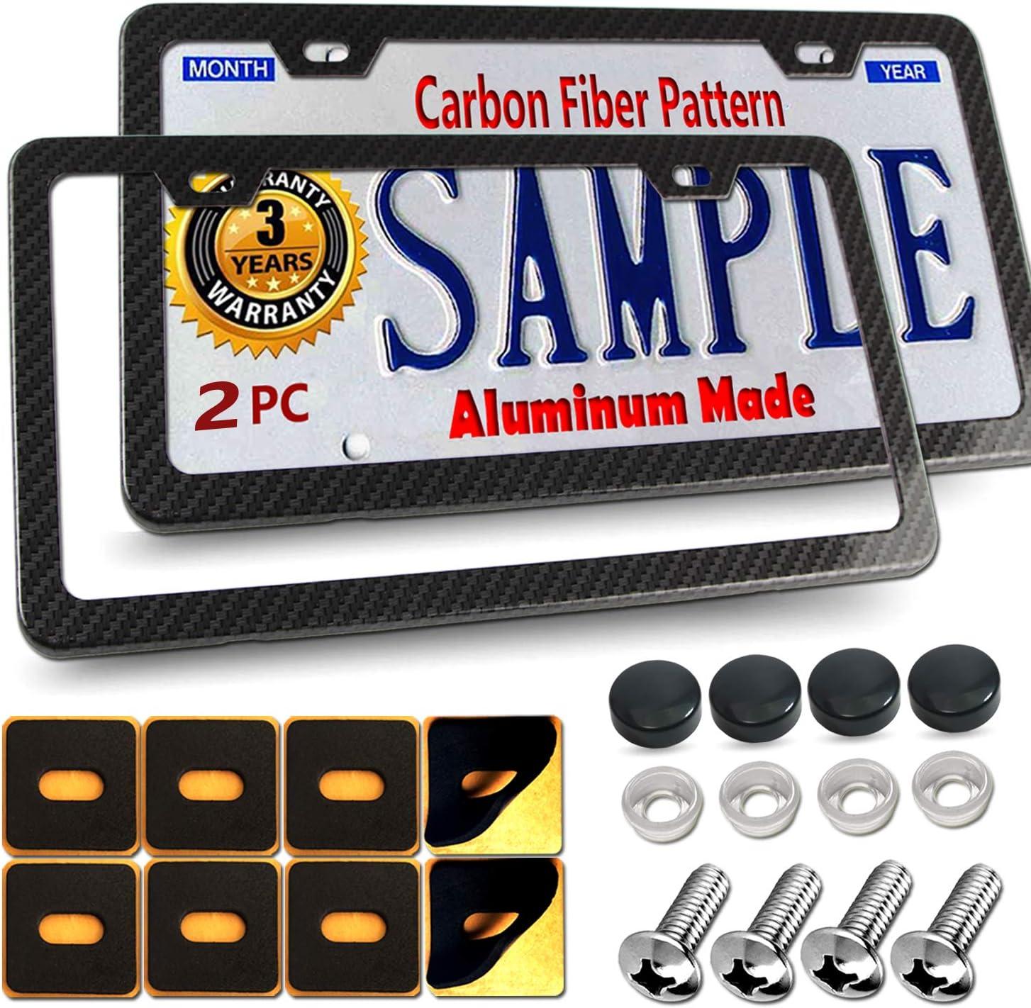 BGGTMO Carbon Fiber License Plate Frames Slim Size Metal Frame with Screw Covers Large Size Shock Pad Bonus Car Non-Slip Mat (2 holes-2Pcs)