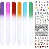 6 Pcs 6 Colors Glass Nail Files Nail Art Design Nail Sanding Shaper Manicure Kit Glass Filing Tool Set 4 Sheets Nail Art Stickers