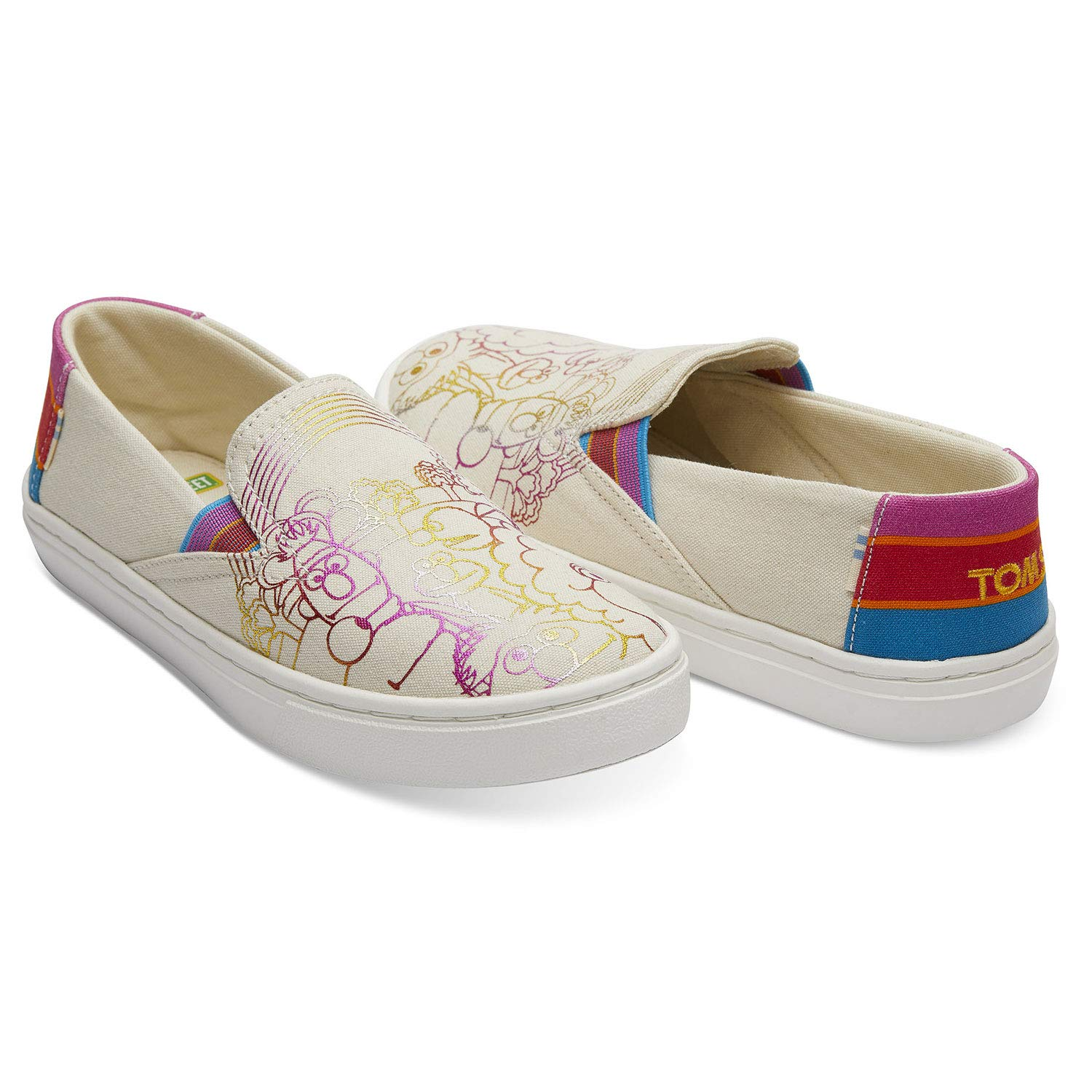 TOMS Sesame Street X Foil Printed Canvas Youth Luca Slip-Ons 10013644 (Size: 6) by TOMS (Image #2)