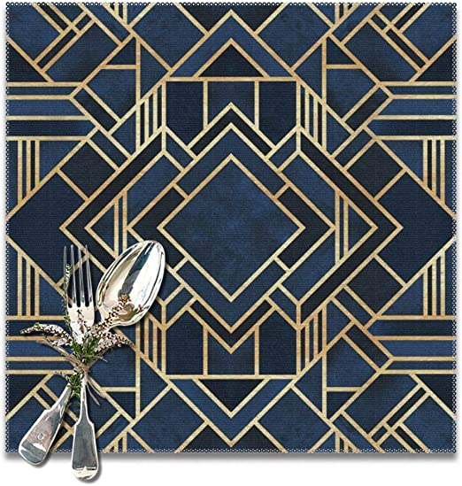 - Elegant Art Deco  by statement/_goods Set of 4 Art Deco Placemats Art Nouveau Cloth Placemats by Spoonflower