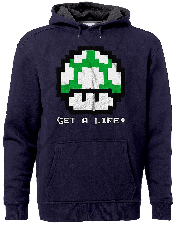 BSW Mens Get A Life 1UP Mushroom Vintage 8bit Mario Bros Premium Hoodie