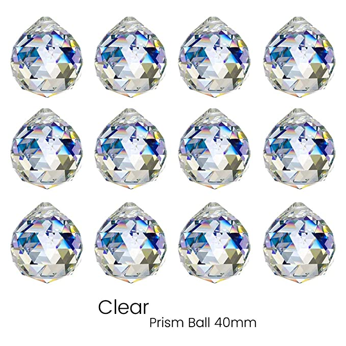 KARSLORA Clear Glass Crystal Ball Prism Rainbow Maker Feng Shui Lamp Hanging Drop Chandelier Pendants Window Suncatchers (40MM Pack of 12)