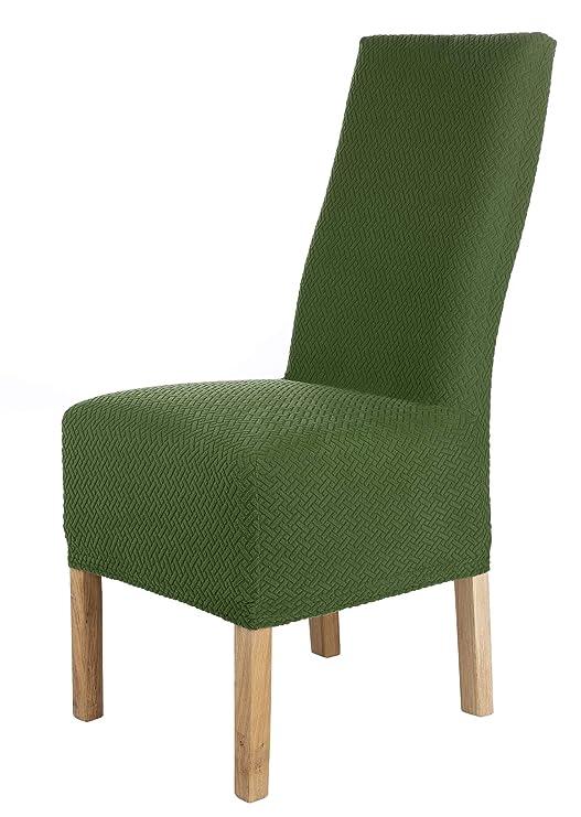 SCHEFFLER-Home Luna-Long 2 Fundas de sillas, Estirable Cubiertas, Chenilla extraíble Funda con Banda elástica, Verde