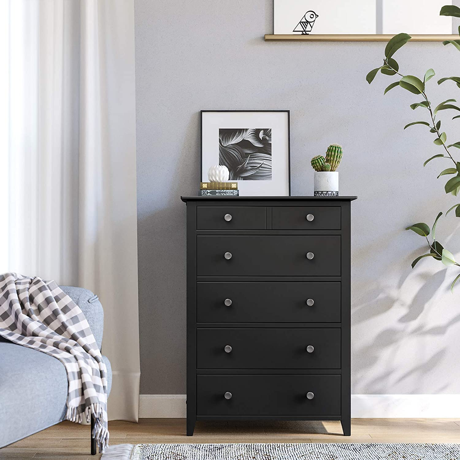 Storage Unit for the Bedroom Living Room Black URCD01BKV1 Pre-Installed Slide Rail VASAGLE Chest of Drawers Kid/'s Room Classic 5-Drawer Dresser with Solid Wood Frame Easy to Assemble