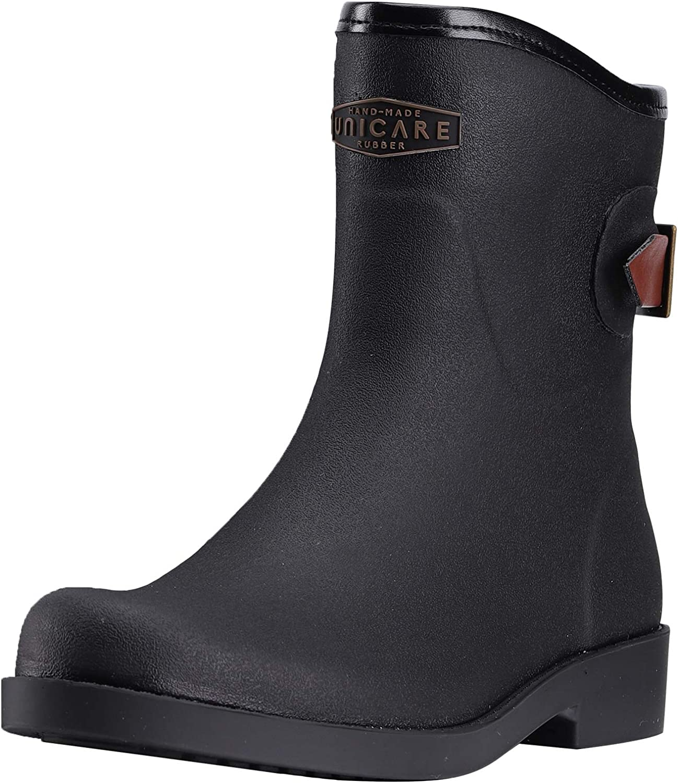 UNICARE Mid Calf Rain Boots Womens Rubber Waterproof Rain Shoes Anti-Slip Garden Shoes Portable Work Boots