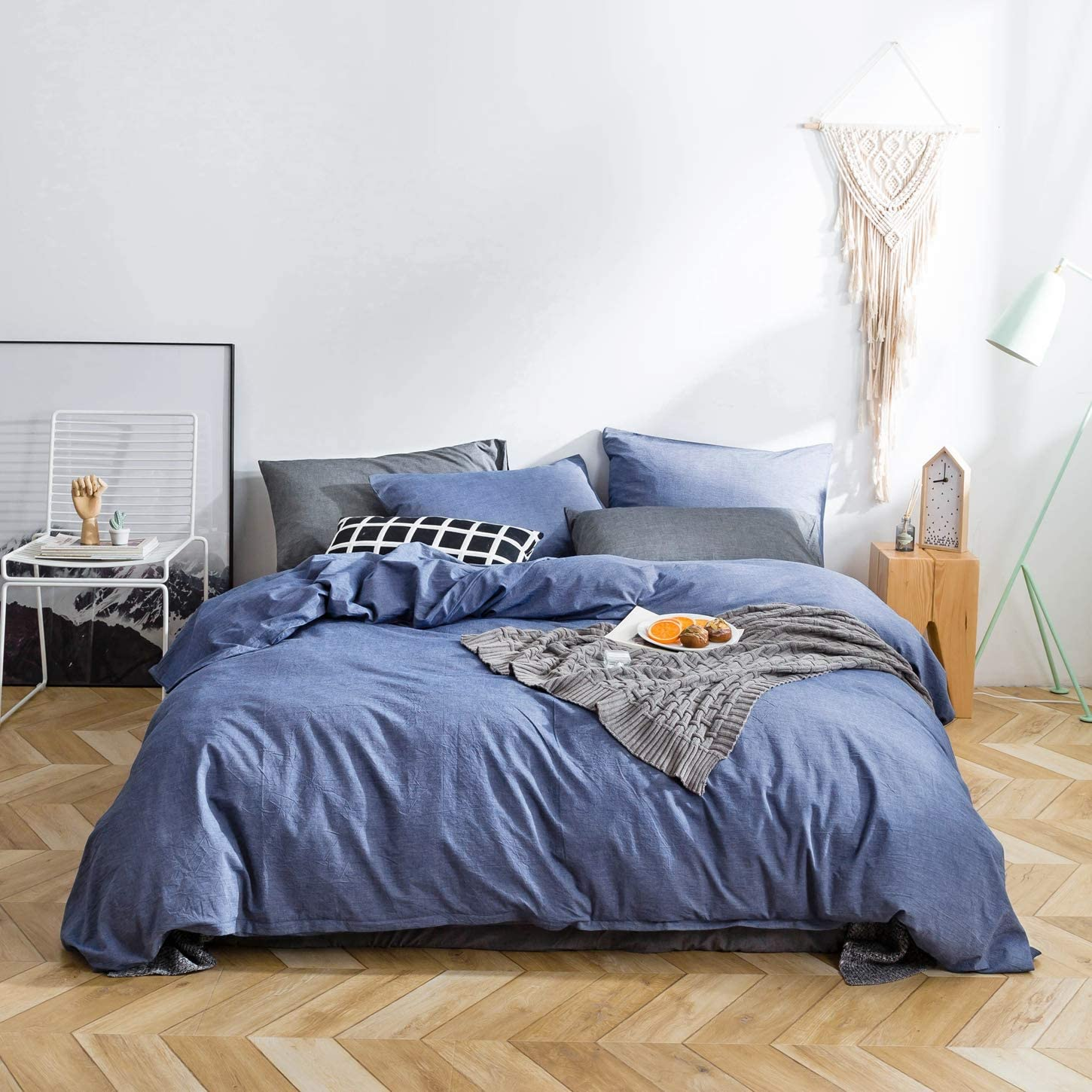 SUSYBAO 3 Pieces Duvet Cover Set 100% Natural Washed Cotton Denim Blue Queen Size 1 Duvet Cover 2 Pillowcases Luxury Quality Durable Ultra Soft Comfortable Fade Resistant Bedding Set with Zipper Ties