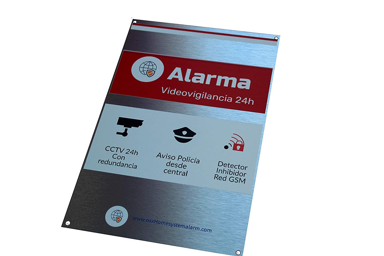 Cartel alarma ALUMINIO + cartel videovigilancia disuasorio ...