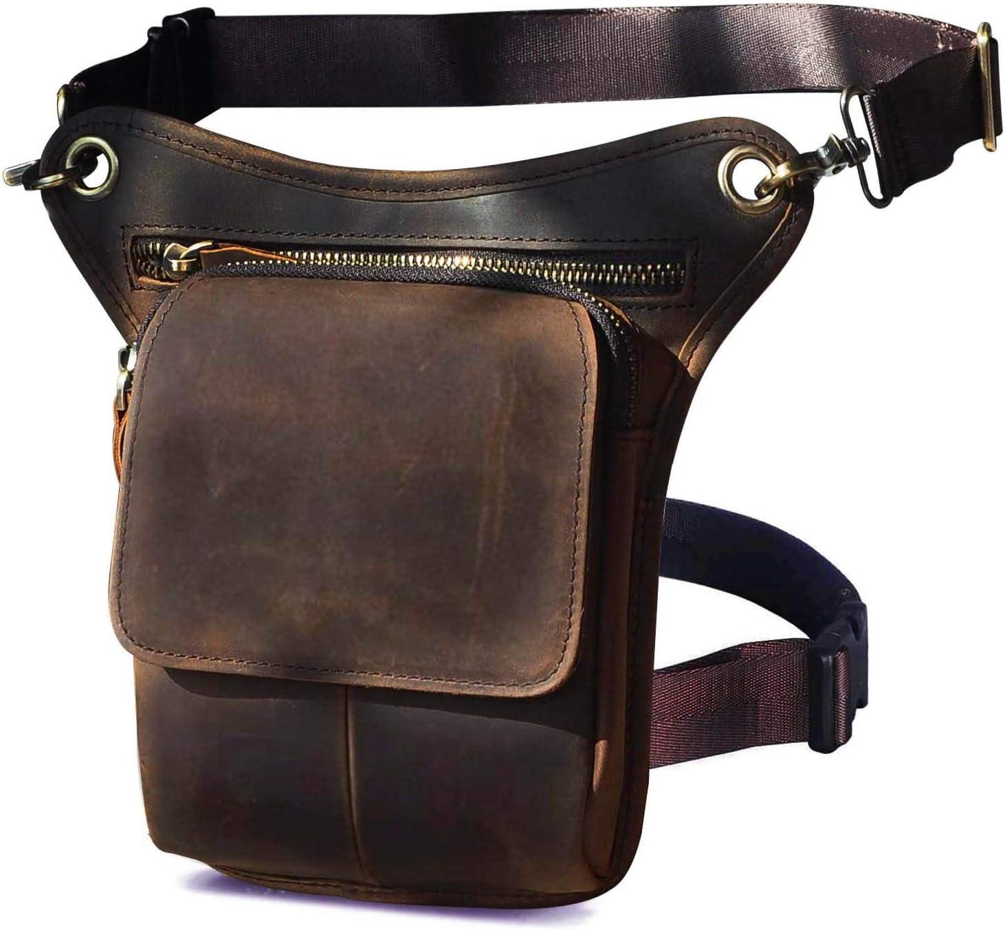 Le'aokuu Hombres Cuero Genuino Bolso Cintura Bolso pierna Multifuncional Militar Táctico Bolsa de cardera Senderismo Deportes Camping 211-1 (1 211-1 A marrón)