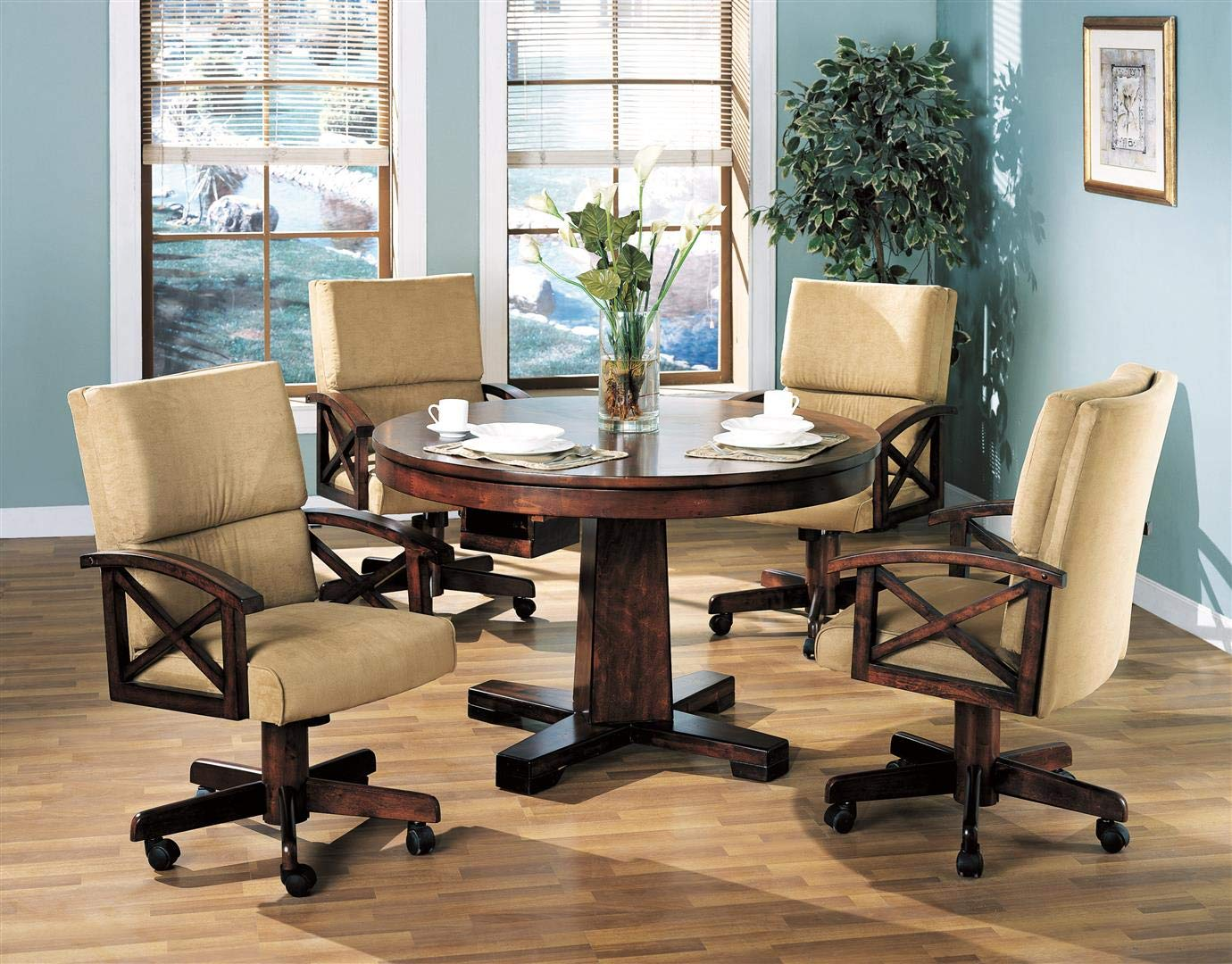 Coaster Home Furnishings Marietta 5-Piece Game Table Dining Set Tobacco and Tan