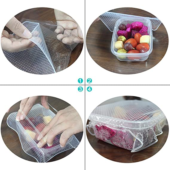 Cuenco de silicona cubre Stretch Food Saver Wraps, Senhai 8 ...