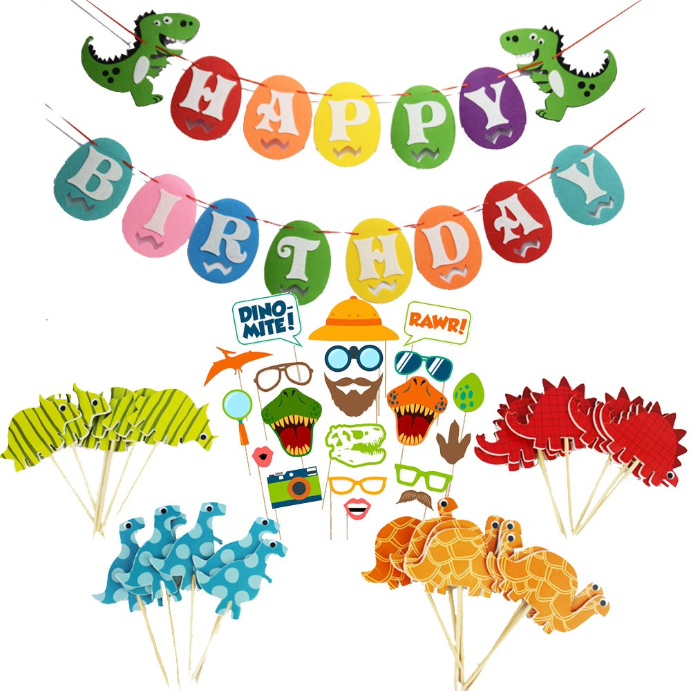 iMagitek Dinosaur Birthday Party Decorations 24 Pcs Dinosaur Cupcake Toppers for Kids Birthdays Happy Birthday Dinosaur Banner 20 Pcs Dinosaur Photo Booth Prop