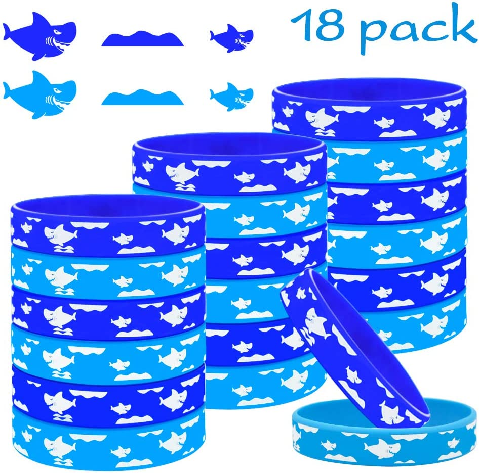 TONIFUL 18Pcs Shark Rubber Bracelets Wristbands Shark Party Favors Blue Bracelets for Shark Theme Sea and Ocean Theme Birthday Party Baby Shower Party Supplies Decoration