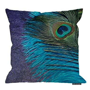 HGOD DESIGNS Purple and Teal Peacock Pillow Cover Canvas Accent Throw Pillow Case 18 X 18 Standard Size Pillow Sham
