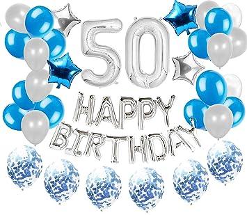 JeVenis 36 PCS Silver Blue 50th Birthday Decorations ...