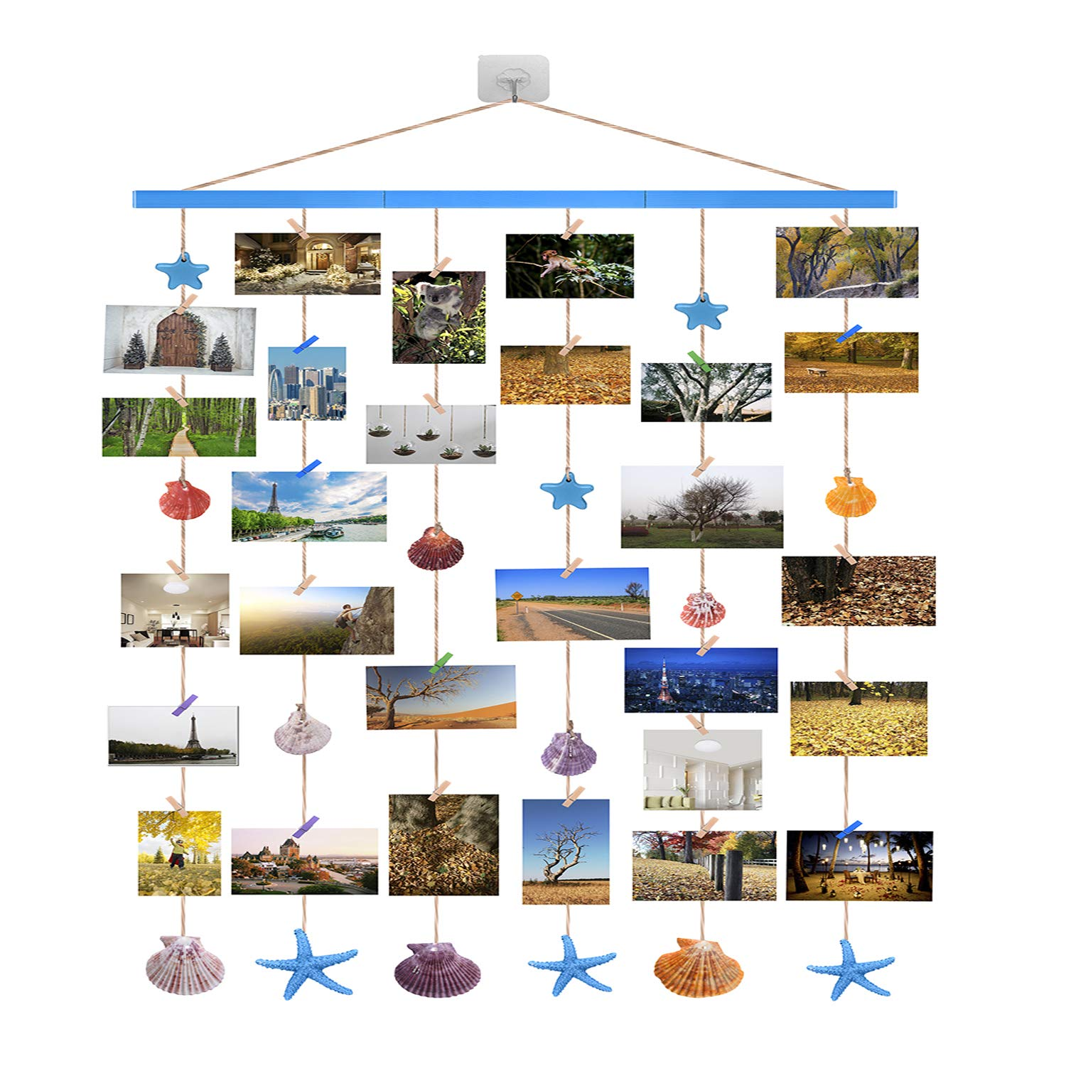 Ecjiuyi Mediterranean Hanging Photo Display,DIY Pictures Organizer Nautical Themed Wall Decor with 20Pcs Clothespin Clips,Seashells,Starfish and Wooden Star Pendant by Ecjiuyi