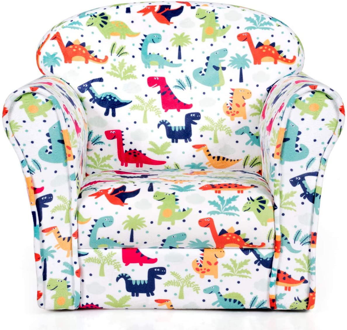 Costzon Kids Sofa, Children Armrest Chair with Pattern, Toddler Furniture  w/Sturdy Wood Construction for Boys & Girls, Armrest Couch for Preschool