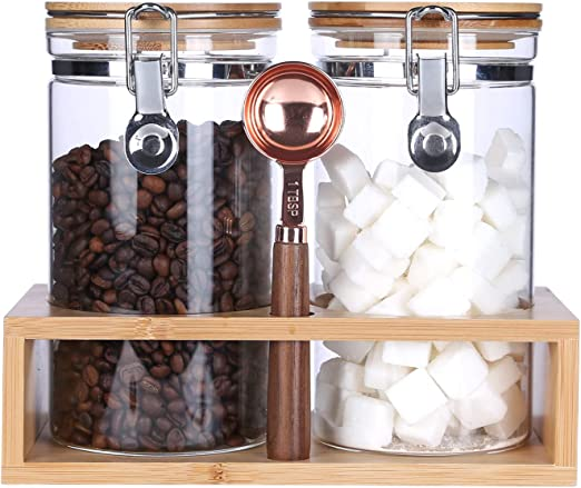 Borosilicate Glass Storage Jar with Airtight Lid,Glass Sealed Jar,Bamboo Lid Glass Container with Looking Clamp Lid,Coffee Bean,Flour,Cereal,Cookie Storage Jar