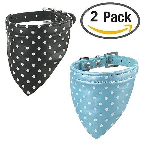 Newtensina 2 piezas collar de pañuelo perro conjunto pañuelo bandana lindo collar pañuelo para perros pequeños