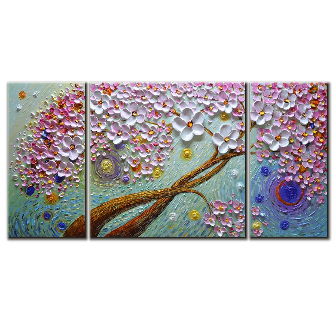 Amei Art Paintings, 36x72 Inch Paintings Modern Textured Purple Flower Oil Painting Contemporary Artwork Floral Hangings Stretched And Framed Ready to Hang Wall Decoration Abstract Painting