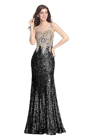 LiCheng Bridal Womens Sequined Prom Dresses Long Rhinestone Mermaid Bridesmaid Dress Black US2