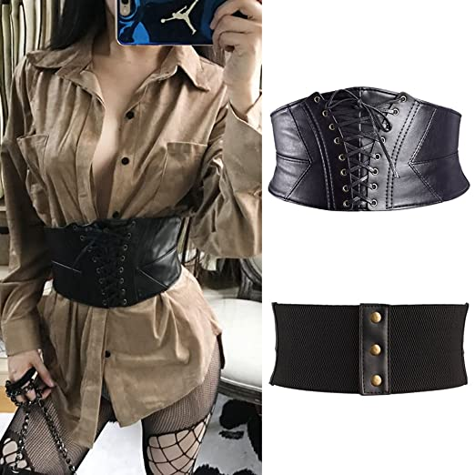 a54d8c80e8 Faux Leather Waist Cincher Stretch Underbust Waspie Lace Up Corset Tied  Wide Belt Black