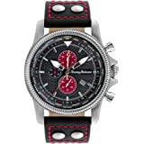 Tommy Bahama  Men's 10018325 Paradise Pilot Dual Time Chronograph Analog Display Japanese Quartz Black Watch