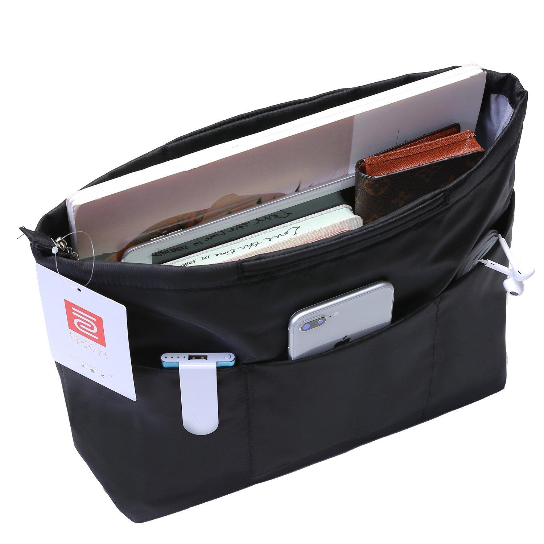 IN Multi-Pocket Travel Handbag Organizer Insert Large for Tote bag Purse Liner Insert Organizer With Handles (Large, Black)