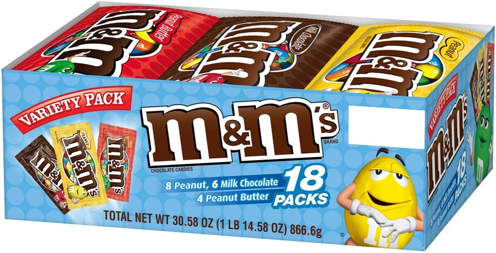 M&MS Variety Pack Chocolate Candy Singles Size 30.58-Ounce 18 ...