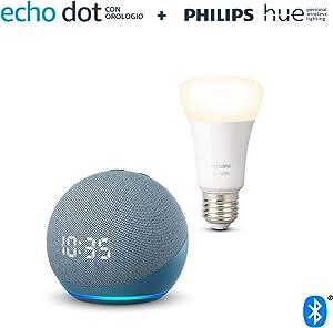 Echo Dot (4ª generazione) con orologio, Ceruleo + Philips Hue White Lampadina Connessa (E27), compatibile con Alexa